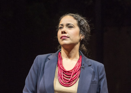 "Keren Lugo in the Center Theatre Group production of ""Water by the Spoonful"" at the Mark Taper Forum. Directed by Lileana Blain-Cruz and written by Quiara Alegría Hudes, ""Water by the Spoonful"" will play through March 11, 2018. For tickets and information, please visit CenterTheatreGroup.org or call (213) 628-2772. Media Contact: CTGMedia@CTGLA.org / (213) 972-7376. Photo by Craig Schwartz."