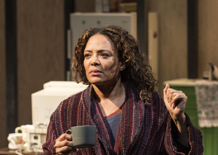 "Luna Lauren Vélez in the Center Theatre Group production of ""Water by the Spoonful"" at the Mark Taper Forum. Directed by Lileana Blain-Cruz and written by Quiara Alegría Hudes, ""Water by the Spoonful"" will play through March 11, 2018. For tickets and information, please visit CenterTheatreGroup.org or call (213) 628-2772. Media Contact: CTGMedia@CTGLA.org / (213) 972-7376. Photo by Craig Schwartz."