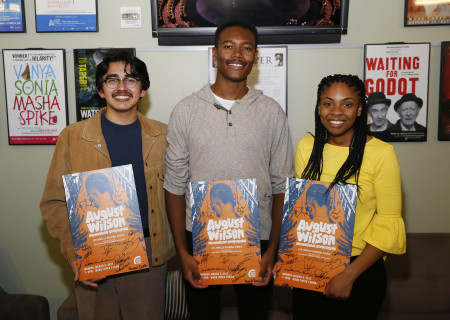 L-R: Gerardo Navarro, Jackson Lewis and Hannah Franklin are the winners of the 2018 August Wilson Monologue Competition Los Angeles Regional Finals hosted by Center Theatre Group at the Mark Taper Forum on March 5. Media Contact: (213) 972-7376 / CTGMedia@ctgla.org. Photo by Ryan Miller/Capture Imaging.