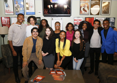 L-R: (back row) regional finalists Jackson Lewis, Nico Moreta, Dominique Payne, AuDrya Clayton, Sarah-Michelle Guei, Tairah Umeadi, Daniel Velez, K.J. Powell, (front row) Gerardo Navarro, Natalia Echeverria, Hannah Franklin and Mylah Eaton after the 2018 August Wilson Monologue Competition Los Angeles Regional Finals hosted by Center Theatre Group at the Mark Taper Forum on March 5. Media Contact: (213) 972-7376 / CTGMedia@ctgla.org. Photo by Ryan Miller/Capture Imaging.