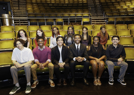 L-R: (back row) Mylah Eaton, Natalia Echeverria, Sarah-Michelle Guei, Tairah Umeadi, Hannah Franklin, AuDrya Clayton, (front row) Nico Moreta, K.J. Powell, Daniel Velez, Jackson Lewis, Dominique Payne and Gerardo Navarro are the Los Angeles regional finalists for the 2018 August Wilson Monologue Competition hosted by Center Theatre Group at the Mark Taper Forum. Media Contact: (213) 972-7376 / CTGMedia@ctgla.org. Photo by Ryan Miller/Capture Imaging.
