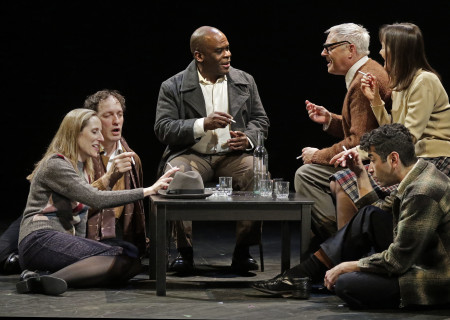"Clockwise from left: Liza Seneca, Nick Santoro, Ray Ford, Curt Bonnem, Valerie Spencer and Richard Gallegos in the Critical Mass Performance Group production of ""Ameryka"" at the Kirk Douglas Theatre. Center Theatre Group is presenting ""Ameryka"" through April 29 as part of Block Party 2018. For tickets and information, please visit CenterTheatreGroup.org or call (213) 628-2772. Media Contact: CTGMedia@CTGLA.org / (213) 972-7376. Photo by Lawrence K. Ho."