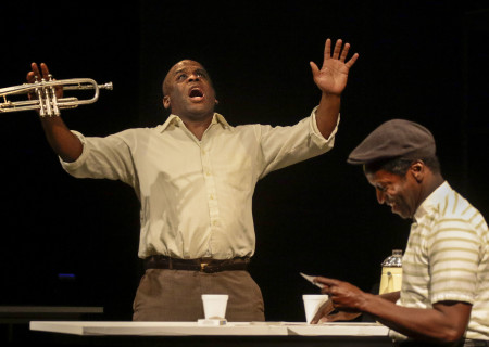 "L-R: Ray Ford and Lorne Green in the Critical Mass Performance Group production of ""Ameryka"" at the Kirk Douglas Theatre. Center Theatre Group is presenting ""Ameryka"" through April 29 as part of Block Party 2018. For tickets and information, please visit CenterTheatreGroup.org or call (213) 628-2772. Media Contact: CTGMedia@CTGLA.org / (213) 972-7376. Photo by Lawrence K. Ho."