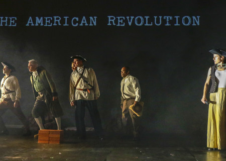"L-R: Richard Gallegos, Curt Bonnem, Nick Santoro (obscured), Russell Edge, Ray Ford and Liza Seneca in the Critical Mass Performance Group production of ""Ameryka"" at the Kirk Douglas Theatre. Center Theatre Group is presenting ""Ameryka"" through April 29 as part of Block Party 2018. For tickets and information, please visit CenterTheatreGroup.org or call (213) 628-2772. Media Contact: CTGMedia@CTGLA.org / (213) 972-7376. Photo by Lawrence K. Ho."