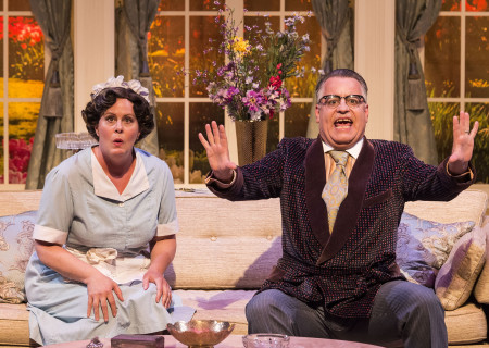 """Gina Torrecilla and Pat Towne in the Celebration Theatre production of """"Die, Mommie, Die!"""" at the Kirk Douglas Theatre. Center Theatre Group is presenting """"Die, Mommie, Die!"""" through May 20 as part of Block Party 2018. For tickets and information, please visit CenterTheatreGroup.org or call (213) 628-2772. Media Contact: CTGMedia@CTGLA.org / (213) 972-7376. Photo by Craig Schwartz."""