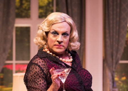 """Drew Droege in the Celebration Theatre production of """"Die, Mommie, Die!"""" at the Kirk Douglas Theatre. Center Theatre Group is presenting """"Die, Mommie, Die!"""" through May 20 as part of Block Party 2018. For tickets and information, please visit CenterTheatreGroup.org or call (213) 628-2772. Media Contact: CTGMedia@CTGLA.org / (213) 972-7376. Photo by Craig Schwartz."""