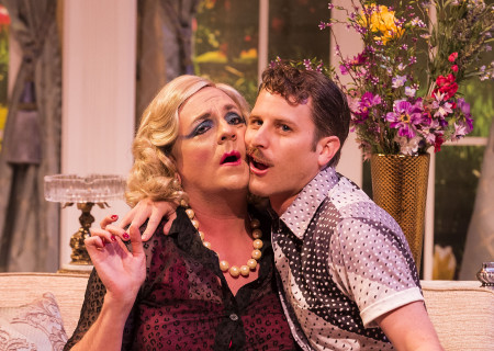 "L-R: Drew Droege and Andrew Carter in the Celebration Theatre production of ""Die, Mommie, Die!"" at the Kirk Douglas Theatre. Center Theatre Group is presenting ""Die, Mommie, Die!"" through May 20 as part of Block Party 2018. For tickets and information, please visit CenterTheatreGroup.org or call (213) 628-2772. Media Contact: CTGMedia@CTGLA.org / (213) 972-7376. Photo by Craig Schwartz."