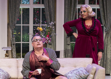 "L-R: Pat Towne and Drew Droege in the Celebration Theatre production of ""Die, Mommie, Die!"" at the Kirk Douglas Theatre. Center Theatre Group is presenting ""Die, Mommie, Die!"" through May 20 as part of Block Party 2018. For tickets and information, please visit CenterTheatreGroup.org or call (213) 628-2772. Media Contact: CTGMedia@CTGLA.org / (213) 972-7376. Photo by Craig Schwartz."