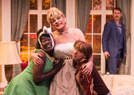 "L-R: Julanne Chidi Hill, Drew Droege, Tom DeTrinis and Andrew Carter (background) in the Celebration Theatre production of ""Die, Mommie, Die!"" at the Kirk Douglas Theatre. Center Theatre Group is presenting ""Die, Mommie, Die!"" through May 20 as part of Block Party 2018. For tickets and information, please visit CenterTheatreGroup.org or call (213) 628-2772. Media Contact: CTGMedia@CTGLA.org / (213) 972-7376. Photo by Craig Schwartz."