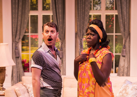 """Andrew Carter and Julanne Chidi Hill in the Celebration Theatre production of """"Die, Mommie, Die!"""" at the Kirk Douglas Theatre. Center Theatre Group is presenting """"Die, Mommie, Die!"""" through May 20 as part of Block Party 2018. For tickets and information, please visit CenterTheatreGroup.org or call (213) 628-2772. Media Contact: CTGMedia@CTGLA.org / (213) 972-7376. Photo by Craig Schwartz."""