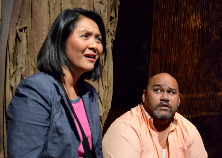 """Myra Cris Ocenar and Boni B. Alvarez in the original production of Playwrights' Arena's """"Bloodletting."""" Center Theatre Group's second annual Block Party will remount """"Bloodletting"""" at the Kirk Douglas Theatre from March 29 through April 8, 2018. For tickets and information, please visit CenterTheatreGroup.org or call (213) 628-2772. Media Contact: CTGMedia@CTGLA.org / (213) 972-7376. Photo courtesy of Playwrights' Arena."""