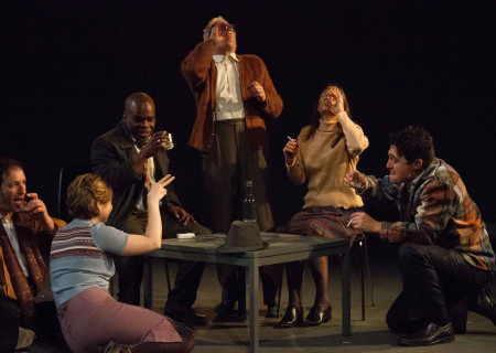 """L-R: Nicholas Santoro, Danielle K. Jones, Ray Ford, Curt Bonnem, Valerie Spencer and Christopher Salazar in the original production of Critical Mass Performance Group's """"Ameryka."""" Center Theatre Group's second annual Block Party will remount """"Ameryka"""" at the Kirk Douglas Theatre from April 19 through 29, 2018. For tickets and information, please visit CenterTheatreGroup.org or call (213) 628-2772. Media Contact: CTGMedia@CTGLA.org / (213) 972-7376. Photo by Turner Munch."""