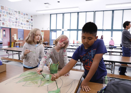 """Students from La Ballona Elementary creating set pieces for their production of """"The Lion King,"""" part of Center Theatre Group's inaugural Disney Musicals in Schools (DMIS) program. Photo by Ryan Miller/Capture Imaging."""