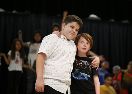 """Students from La Ballona Elementary rehearsing for their production of """"The Lion King,"""" part of Center Theatre Group's inaugural Disney Musicals in Schools (DMIS) program. Photo by Ryan Miller/Capture Imaging."""