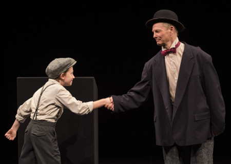"L-R: Benjamin Taylor and Bill Irwin in the Irish Repertory Theatre production of ""On Beckett."" Conceived and performed by Irwin, ""On Beckett"" runs through October 27 at Center Theatre Group's Kirk Douglas Theatre. For more information, please visit CenterTheatreGroup.org. Press Contact: CTGMedia@CTGLA.org / (213) 972-7376. Photo by Craig Schwartz."