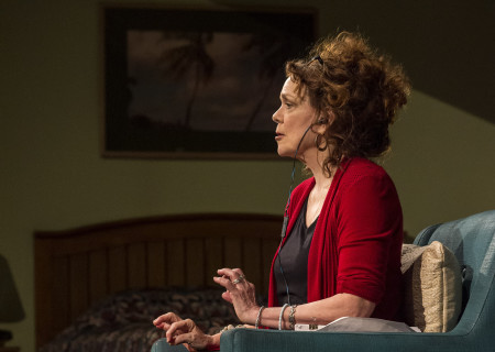"Deirdre O'Connell in the world premiere of Lucas Hnath's ""Dana H."" Directed by Les Waters, ""Dana H."" runs through June 23 at Center Theatre Group's Kirk Douglas Theatre. For more information, please visit CenterTheatreGroup.org. Press Contact: CTGMedia@CTGLA.org / (213) 972-7376. Photo by Craig Schwartz."