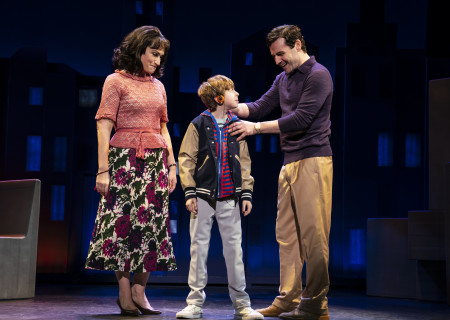 "L-R: Eden Espinosa, Thatcher Jacobs and Max von Essen, from the First National Tour of ""Falsettos,"" which will play at the Ahmanson Theatre April 16 through May 19, 2019. For tickets and information, please visit CenterTheatreGroup.org or call (213) 972-4400. Press Contact: CTGMedia@CTGLA.org / (213) 972-7376. Photo by Joan Marcus."