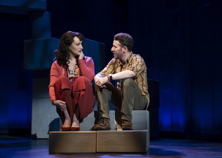 "Eden Espinosa and Nick Blaemire, from the First National Tour of ""Falsettos,"" which will play at the Ahmanson Theatre April 16 through May 19, 2019. For tickets and information, please visit CenterTheatreGroup.org or call (213) 972-4400. Press Contact: CTGMedia@CTGLA.org / (213) 972-7376. Photo by Joan Marcus."