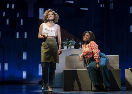 "L-R: Audrey Cardwell and Bryonha Marie Parham, from the First National Tour of ""Falsettos,"" which will play at the Ahmanson Theatre April 16 through May 19, 2019. For tickets and information, please visit CenterTheatreGroup.org or call (213) 972-4400. Press Contact: CTGMedia@CTGLA.org / (213) 972-7376. Photo by Joan Marcus."