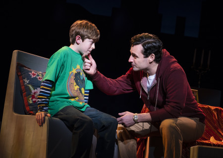 "L-R: Thatcher Jacobs and Max von Essen, from the First National Tour of ""Falsettos,"" which will play at the Ahmanson Theatre April 16 through May 19, 2019. For tickets and information, please visit CenterTheatreGroup.org or call (213) 972-4400. Press Contact: CTGMedia@CTGLA.org / (213) 972-7376. Photo by Joan Marcus."