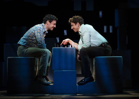 "L-R: Max von Essen and Nick Adams, from the First National Tour of ""Falsettos,"" which will play at the Ahmanson Theatre April 16 through May 19, 2019. For tickets and information, please visit CenterTheatreGroup.org or call (213) 972-4400. Press Contact: CTGMedia@CTGLA.org / (213) 972-7376. Photo by Joan Marcus."