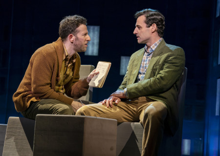 "L-R: Nick Blaemire and Max von Essen, from the First National Tour of ""Falsettos,"" which will play at the Ahmanson Theatre April 16 through May 19, 2019. For tickets and information, please visit CenterTheatreGroup.org or call (213) 972-4400. Press Contact: CTGMedia@CTGLA.org / (213) 972-7376. Photo by Joan Marcus."