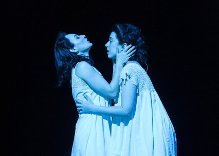 "L-R: Elizabeth A. Davis and Adina Verson in Paula Vogel's ""Indecent."" A co-production with Huntington Theatre Company, ""Indecent"" runs through July 7, 2019 at the Ahmanson Theatre. For more information, please visit CenterTheatreGroup.org. Press Contact: CTGMedia@CTGLA.org / (213) 972-7376. Photo by Craig Schwartz."