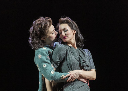 "L-R: Adina Verson and Elizabeth A. Davis in Paula Vogel's ""Indecent."" A co-production with Huntington Theatre Company, ""Indecent"" runs through July 7, 2019 at the Ahmanson Theatre. For more information, please visit CenterTheatreGroup.org. Press Contact: CTGMedia@CTGLA.org / (213) 972-7376. Photo by Craig Schwartz."