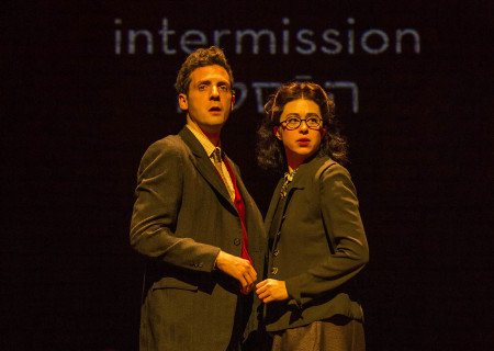 "L-R: Joby Earle and Adina Verson in Paula Vogel's ""Indecent."" A co-production with Huntington Theatre Company, ""Indecent"" runs through July 7, 2019 at the Ahmanson Theatre. For more information, please visit CenterTheatreGroup.org. Press Contact: CTGMedia@CTGLA.org / (213) 972-7376. Photo by Craig Schwartz."