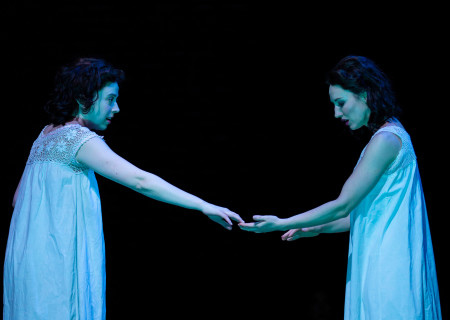 "L-R: Adina Verson and Elizabeth A. Davis in ""Indecent"" at Huntington Theatre Company. A co-production with Center Theatre Group, ""Indecent"" runs June 5 through July 7, 2019 at the Ahmanson Theatre. For more information, please visit CenterTheatreGroup.org. Press Contact: CTGMedia@CTGLA.org / (213) 972-7376. Photo by T. Charles Erickson."