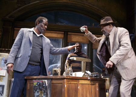 """L-R: John Douglas Thompson, Michael Potts (obscured) and Anthony Chisholm in the Manhattan Theatre Club production of August Wilson's """"Jitney."""" Directed by Ruben Santiago-Hudson, """"Jitney"""" will play at the Mark Taper Forum November 22 through December 29, 2019. For tickets and information, please visit CenterTheatreGroup.org or call (213) 628-2772. Media Contact: CTGMedia@CTGLA.org / (213) 972-7376. Photo by Joan Marcus."""