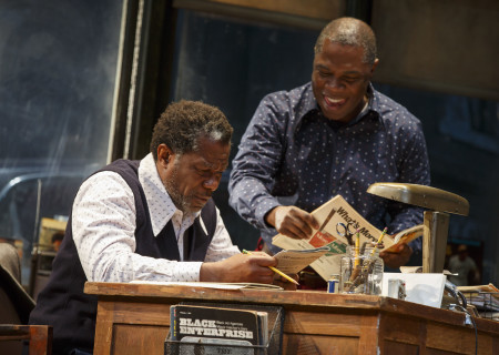 """L-R: John Douglas Thompson and Michael Potts in the Manhattan Theatre Club production of August Wilson's """"Jitney."""" Directed by Ruben Santiago-Hudson, """"Jitney"""" will play at the Mark Taper Forum November 22 through December 29, 2019. For tickets and information, please visit CenterTheatreGroup.org or call (213) 628-2772. Media Contact: CTGMedia@CTGLA.org / (213) 972-7376. Photo by Joan Marcus."""