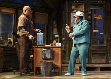 """L-R: Keith Randolph Smith and Harvy Blanks in the Manhattan Theatre Club production of August Wilson's """"Jitney."""" Directed by Ruben Santiago-Hudson, """"Jitney"""" will play at the Mark Taper Forum November 22 through December 29, 2019. For tickets and information, please visit CenterTheatreGroup.org or call (213) 628-2772. Media Contact: CTGMedia@CTGLA.org / (213) 972-7376. Photo by Joan Marcus."""