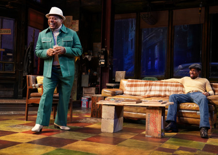 "L-R: Harvy Blanks and Amari Cheatom in August Wilson's ""Jitney"" directed by Ruben Santiago-Hudson. ""Jitney"" will play at the Mark Taper Forum November 22 through December 29, 2019. For tickets and information, please visit CenterTheatreGroup.org or call (213) 628-2772. Media Contact: CTGMedia@CTGLA.org / (213) 972-7376. Photo by Joan Marcus."