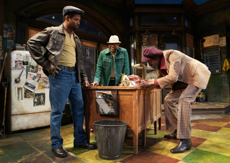 "L-R: Amari Cheatom, Harvy Blanks and Brian D. Coats in August Wilson's ""Jitney"" directed by Ruben Santiago-Hudson. ""Jitney"" will play at the Mark Taper Forum November 22 through December 29, 2019. For tickets and information, please visit CenterTheatreGroup.org or call (213) 628-2772. Media Contact: CTGMedia@CTGLA.org / (213) 972-7376. Photo by Joan Marcus."