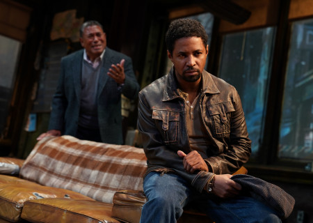 "L-R: Steven Anthony Jones (background) and Amari Cheatom in August Wilson's ""Jitney"" directed by Ruben Santiago-Hudson. ""Jitney"" will play at the Mark Taper Forum November 22 through December 29, 2019. For tickets and information, please visit CenterTheatreGroup.org or call (213) 628-2772. Media Contact: CTGMedia@CTGLA.org / (213) 972-7376. Photo by Joan Marcus."
