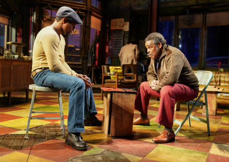 "L-R: Amari Cheatom and Ray Anthony Thomas in August Wilson's ""Jitney"" directed by Ruben Santiago-Hudson. ""Jitney"" will play at the Mark Taper Forum November 22 through December 29, 2019. For tickets and information, please visit CenterTheatreGroup.org or call (213) 628-2772. Media Contact: CTGMedia@CTGLA.org / (213) 972-7376. Photo by Joan Marcus."