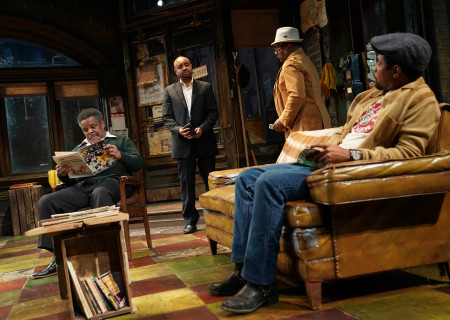 "L-R: Ray Anthony Thomas, Francois Battiste, Harvy Blanks and Amari Cheatom in August Wilson's ""Jitney"" directed by Ruben Santiago-Hudson. ""Jitney"" will play at the Mark Taper Forum November 22 through December 29, 2019. For tickets and information, please visit CenterTheatreGroup.org or call (213) 628-2772. Media Contact: CTGMedia@CTGLA.org / (213) 972-7376. Photo by Joan Marcus."