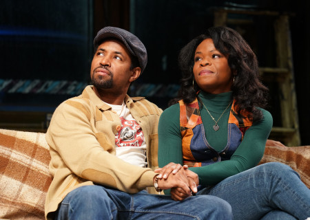 "L-R: Amari Cheatom and Nija Okoro in August Wilson's ""Jitney"" directed by Ruben Santiago-Hudson. ""Jitney"" will play at the Mark Taper Forum November 22 through December 29, 2019. For tickets and information, please visit CenterTheatreGroup.org or call (213) 628-2772. Media Contact: CTGMedia@CTGLA.org / (213) 972-7376. Photo by Joan Marcus."