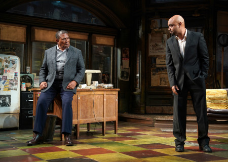 "L-R: Steven Anthony Jones and Francois Battiste in August Wilson's ""Jitney"" directed by Ruben Santiago-Hudson. ""Jitney"" will play at the Mark Taper Forum November 22 through December 29, 2019. For tickets and information, please visit CenterTheatreGroup.org or call (213) 628-2772. Media Contact: CTGMedia@CTGLA.org / (213) 972-7376. Photo by Joan Marcus."
