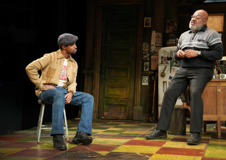 "L-R: Amari Cheatom and Keith Randolph Smith in August Wilson's ""Jitney"" directed by Ruben Santiago-Hudson. ""Jitney"" will play at the Mark Taper Forum November 22 through December 29, 2019. For tickets and information, please visit CenterTheatreGroup.org or call (213) 628-2772. Media Contact: CTGMedia@CTGLA.org / (213) 972-7376. Photo by Joan Marcus."