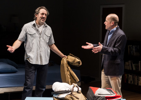 """L-R: Ian Barford and Tim Hopper in the Steppenwolf Theatre Company production of Tracy Letts' """"Linda Vista."""" Directed by Dexter Bullard, """"Linda Vista"""" will play through February 17 at Center Theatre Group/Mark Taper Forum. For tickets and information, please visit CenterTheatreGroup.org or call (213) 628-2772. Media Contact: CTGMedia@CTGLA.org / (213) 972-7376. Photo by Craig Schwartz."""