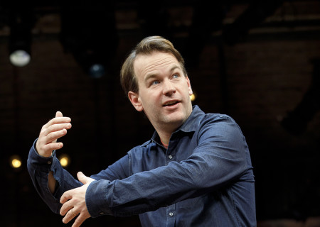 "Mike Birbiglia in ""The New One."" Written and performed by Birbiglia and directed by Seth Barrish, ""The New One"" will be presented by Center Theatre Group at the Ahmanson Theatre October 23 through November 24, 2019. For more information, please visit CenterTheatreGroup.org. Press Contact: CTGMedia@CTGLA.org / (213) 972-7376. Photo by Joan Marcus."