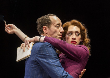 "L-R: Joey Slotnick and Micaela Diamond in the world premiere of ""A Play Is a Poem."" Written by Ethan Coen and directed by Neil Pepe, ""A Play Is a Poem"" runs through October 13, 2019, at Center Theatre Group/Mark Taper Forum. For tickets and information, please visit CenterTheatreGroup.org or call (213) 628-2772. Media Contact: CTGMedia@CTGLA.org / (213) 972-7376. Photo by Craig Schwartz."