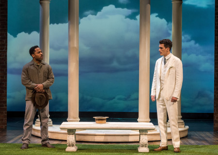 "L-R: Ro Boddie and Sam Vartholomeos in the world premiere of ""A Play Is a Poem."" Written by Ethan Coen and directed by Neil Pepe, ""A Play Is a Poem"" runs through October 13, 2019, at Center Theatre Group/Mark Taper Forum. For tickets and information, please visit CenterTheatreGroup.org or call (213) 628-2772. Media Contact: CTGMedia@CTGLA.org / (213) 972-7376. Photo by Craig Schwartz."
