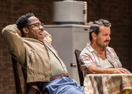 "L-R: Ro Boddie and Max Casella in the world premiere of ""A Play Is a Poem."" Written by Ethan Coen and directed by Neil Pepe, ""A Play Is a Poem"" runs through October 13, 2019, at Center Theatre Group/Mark Taper Forum. For tickets and information, please visit CenterTheatreGroup.org or call (213) 628-2772. Media Contact: CTGMedia@CTGLA.org / (213) 972-7376. Photo by Craig Schwartz."