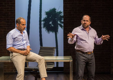 "L-R: Peter Jacobson and Jason Kravits in the world premiere of ""A Play Is a Poem."" Written by Ethan Coen and directed by Neil Pepe, ""A Play Is a Poem"" runs through October 13, 2019, at Center Theatre Group/Mark Taper Forum. For tickets and information, please visit CenterTheatreGroup.org or call (213) 628-2772. Media Contact: CTGMedia@CTGLA.org / (213) 972-7376. Photo by Craig Schwartz."