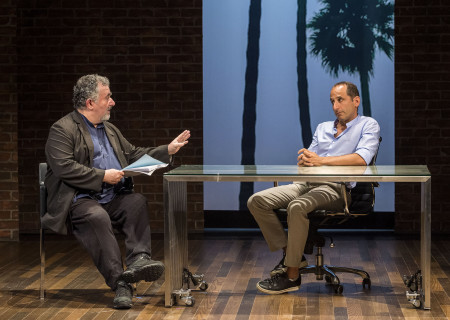 "L-R: Saul Rubinek and Peter Jacobson in the world premiere of ""A Play Is a Poem."" Written by Ethan Coen and directed by Neil Pepe, ""A Play Is a Poem"" runs through October 13, 2019, at Center Theatre Group/Mark Taper Forum. For tickets and information, please visit CenterTheatreGroup.org or call (213) 628-2772. Media Contact: CTGMedia@CTGLA.org / (213) 972-7376. Photo by Craig Schwartz."