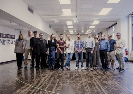"L-R: Nellie McKay, C.J. Wilson, Sam Vartholomeos, Saul Rubinek, Micaela Diamond, Ro Boddie, Ethan Coen, Max Casella, Joey Slotnick, Miriam Silverman, Jason Kravits, Peter Jacobson and Neil Pepe at the first rehearsal for the world premiere of ""A Play Is a Poem."" Written by Coen and directed by Pepe, ""A Play Is a Poem"" runs September 11 through October 13, 2019, at Center Theatre Group/Mark Taper Forum. For tickets and information, please visit CenterTheatreGroup.org or call (213) 628-2772. Media Contact: CTGMedia@CTGLA.org / (213) 972-7376. Photo by Benedict Evans."