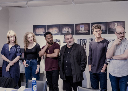 "L-R: Sarah Laux, Micaela Diamond, Ro Boddie, Saul Rubinek, Sam Vartholomeos and Jacob A. Climer at the first rehearsal for the world premiere of ""A Play Is a Poem"" by Ethan Coen. Directed by Neil Pepe, ""A Play Is a Poem"" runs September 11 through October 13, 2019, at Center Theatre Group/Mark Taper Forum. For tickets and information, please visit CenterTheatreGroup.org or call (213) 628-2772. Media Contact: CTGMedia@CTGLA.org / (213) 972-7376. Photo by Benedict Evans."